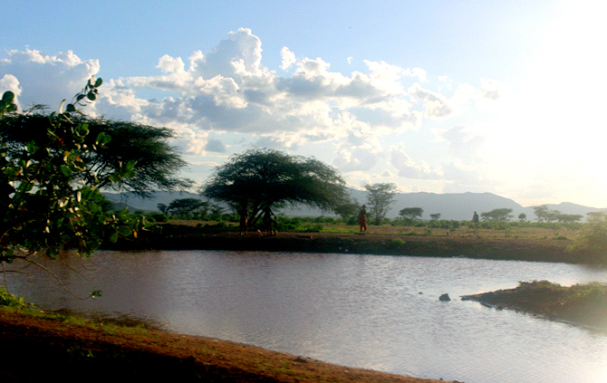 A seasonal dam at the hill slopes of Sololo town, Moyale Constituency